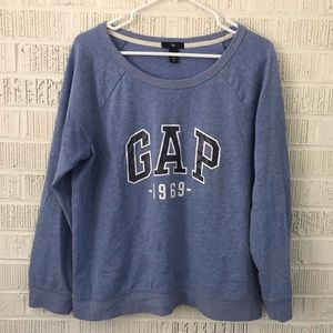 Gap 1969 logo sweatshirt boat neck light blue L